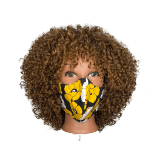 medium mask floral black yellow
